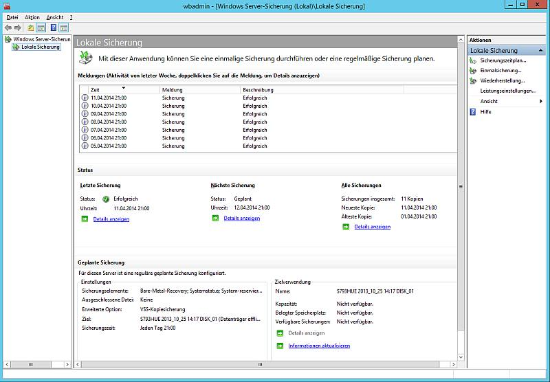 GUI Windows Server-Sicherung